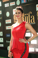 Meenakshi Dixit in Red One Shoulder Red Zipped up gown at IIFA Utsavam Awards015.JPG