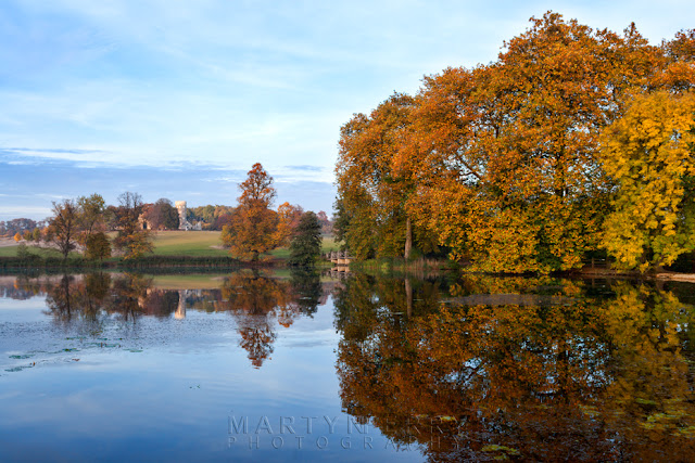 Autumn trees and Folly are reflected in the lake on the Wimpole Estate