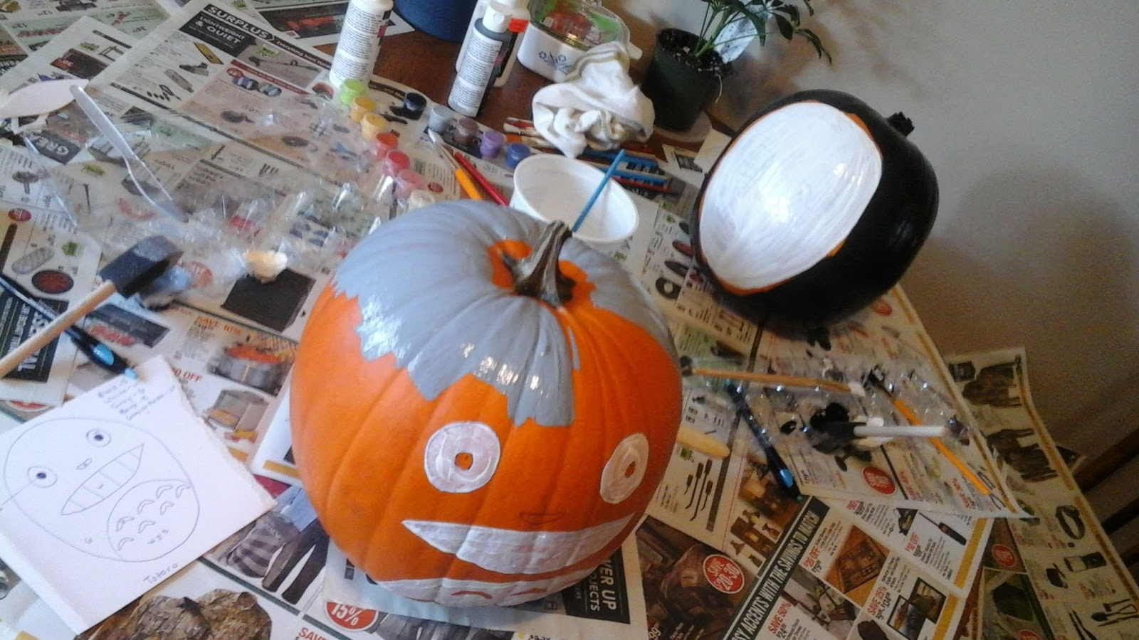 Keen Koala Halloween Diy Totoro And No Face Painted Pumpkin Tutorial Diagram Of A Please See The That You Used During To Drawing Step Determine Which Area Should Be Color Course Can Paint Your Any