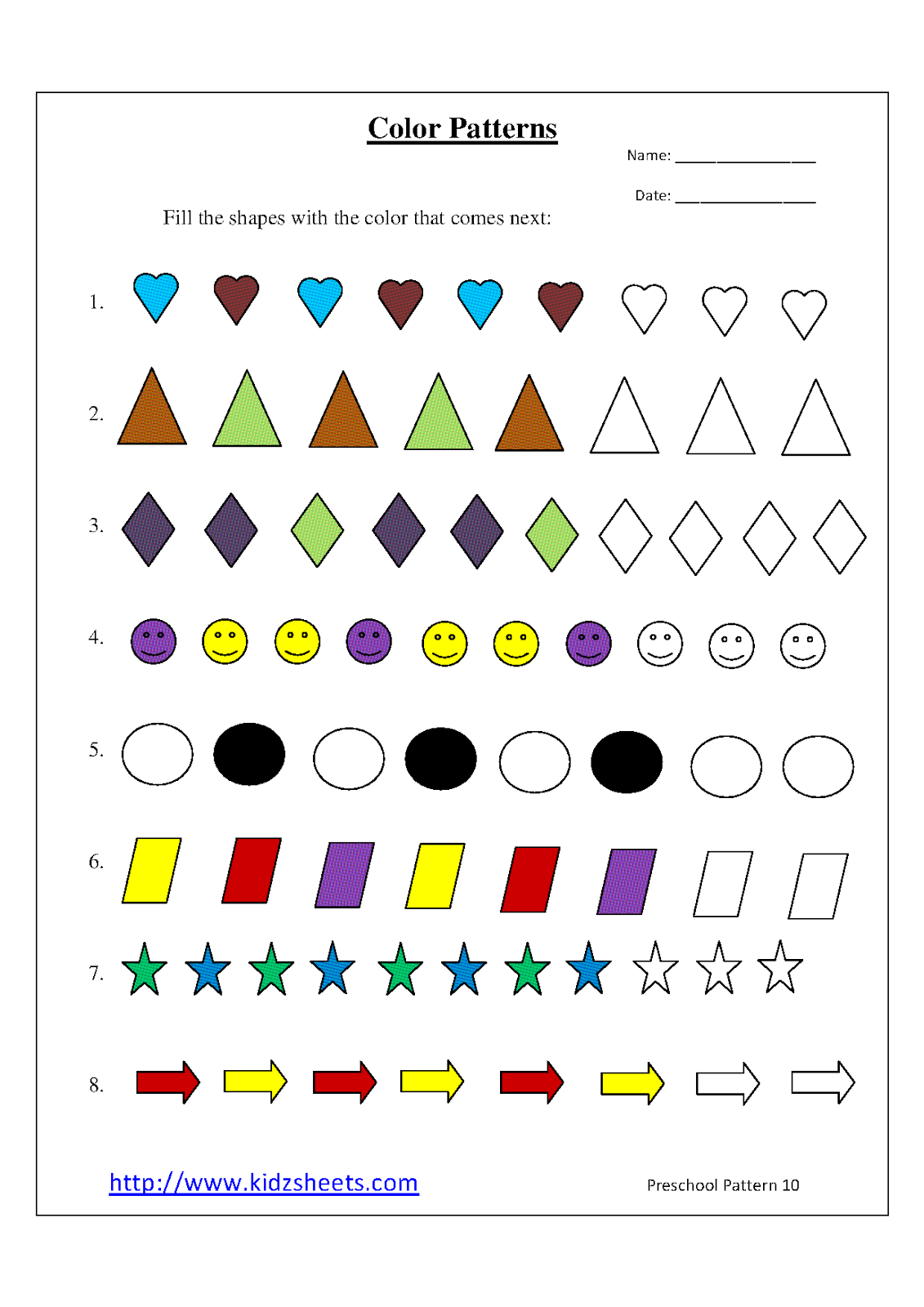 Kidz Worksheets Preschool Color Patterns Worksheet10