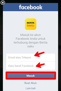 Masukan data facebook daftar aplikasi Berita Saku