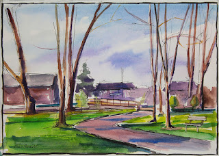 A watercolor painting of the bridge at island park in williamsville ny