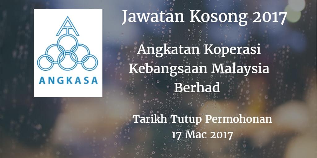 Jawatan Kosong ANGKASA 17 Mac 2017