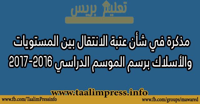 مذكرة في شأن عتبة الانتقال بين المستويات والأسلاك برسم الموسم الدراسي 2016-2017