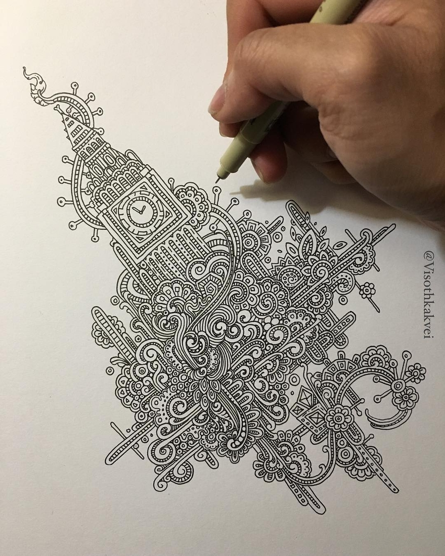 11-London-Big-Ben-Visoth-Kakvei-Intricate-Doodles-that-include-Optical-Illusions-www-designstack-co