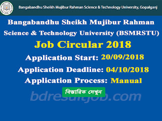 Bangabandhu Sheikh Mujibur Rahman Science & Technology University (BSMRSTU), Gopalganj Job Circular 2018