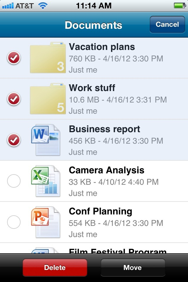 SkyDrive for iOS screen