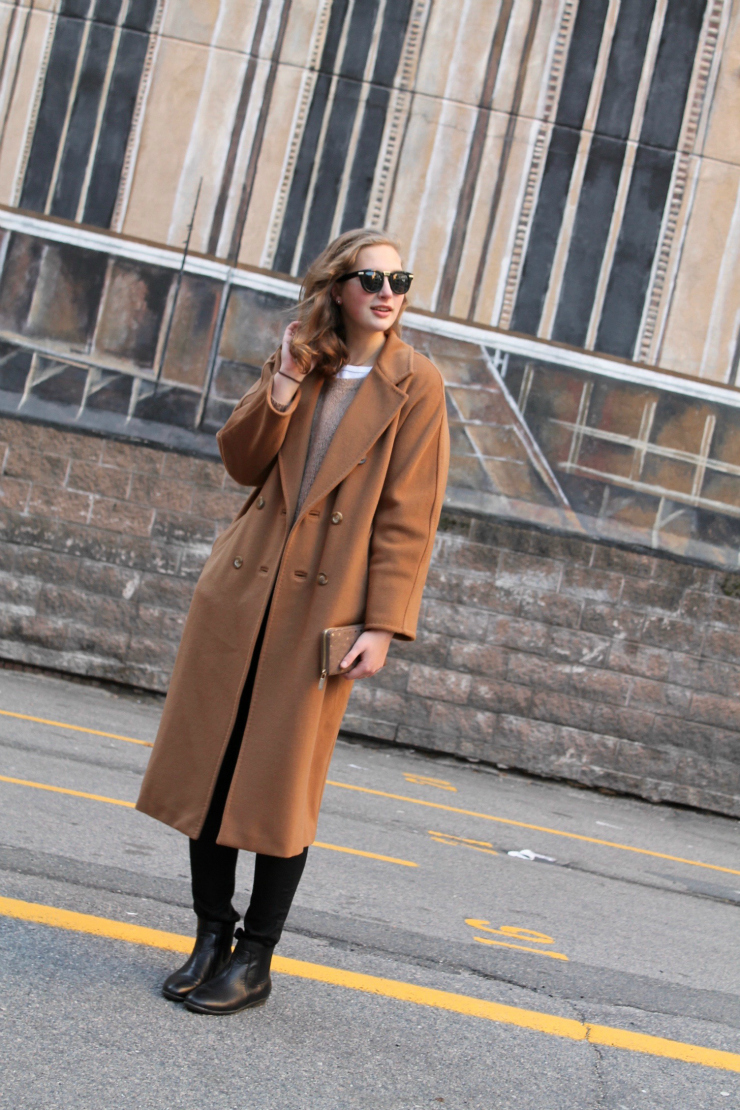 Max Mara camel coat worn in Boston, MA, USA, fashion