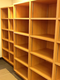 Shelving in the Little Falls staff area