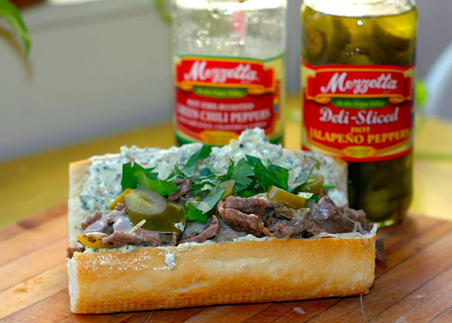 green chile cheese steak with jalapeno and cilantro