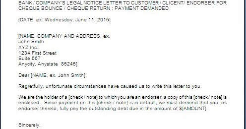 Legal Notice For Cheque Dishonour Format