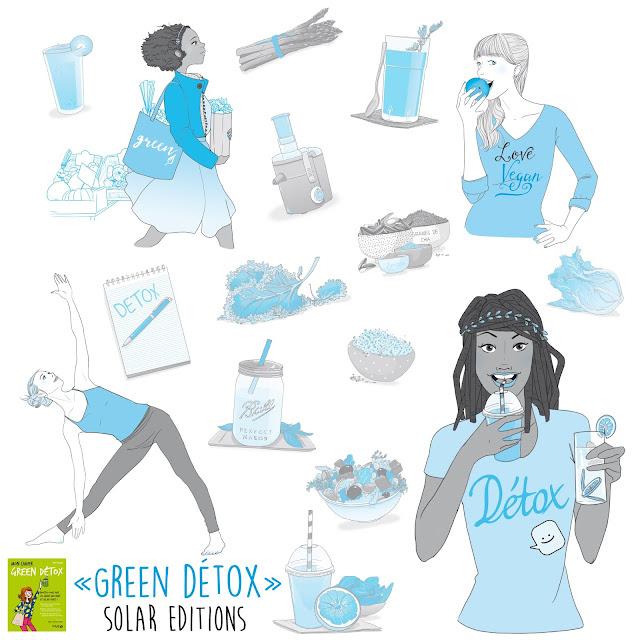 """illustration edition Solar Mon cahier """"green détox"""", Green smoothies et green juices, le meilleur concentré de vialité, de bien-être et de beauté ! 100 % vegan, les jus et smoothies verts sont un concentré de nutriments, de minéraux et, surtout, de chlorophylle (la substance qui emmagasine l'énergie du soleil). De quoi régénérer et reminéraliser le corps avec une alimentation détox, alcaline et nourrissante. Un cocktail de bienfaits, pour une forme au top, une beauté éclatante (teint frais, peau hydratée, cheveux vigoureux) et une ligne retrouvée ! Au programme : -    Les principes des green smoothies et green juices, pour les choisir selon son objectif (détox, coup de boost, diète), connaître leurs effets sur la vitalité et la digestion, leurs caractéristiques nutritionnels et leurs bienfaits -    Un coaching alimentaire complet, pour bien s'équiper (blender, extracteur), faire ses courses (légumes, fruits, feuilles vertes), et apprendre la formule d'un smoothie beau, bon et ultravitaminé. -    Une cure détox de 1, 3 ou 5 jours, pour faire une pause digestive, s'alléger ou se régénérer, avec le programme complet de la journée guidé pas à pas (menu green smoothie pour chaque repas, sorties et activités détox de la journée). -    Des conseils complémentaires (sport, lifestyle) pour propager le bien-être à tous les domaines de sa vie.Dany Culaud enseigne depuis plus de 15 ans les façons d'améliorer son assiette avec une alimentation plus saine, plus végétale, plus vivante. Elle a fondé « Sème la vie » en 2006 ainsi qu'une école d'alimentation vivante. Elle est formée à la naturopathie et à l'éducation sportive et également diplômée du Living light Institute aux USA, en tant que chef cru. Elle est l'auteur d'un guide sur le cru et le bien-être"""