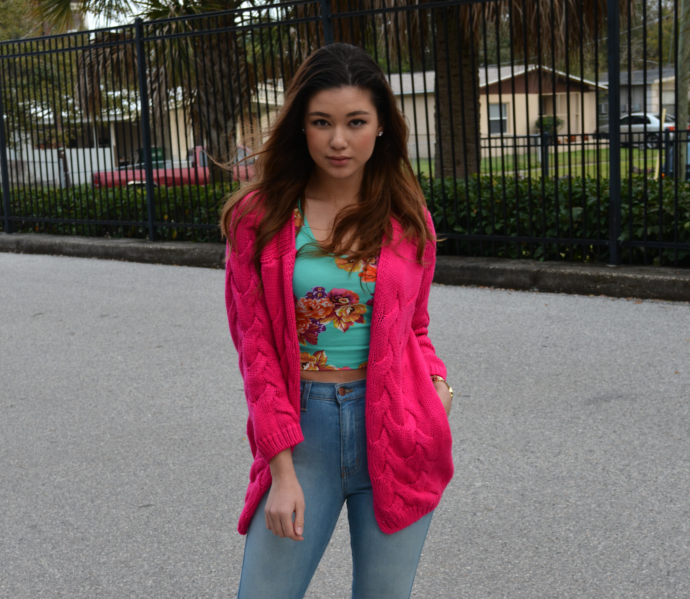 Hot Pink Cable Knit Cardigan, Oasap, Pink Cardigan, Knit, Chic Solid Cable Cardigan, Floral Crop Top, Burlington, Fashionnova, High Waist Jeans,  Light Blue Classic High Waist Skinny Jeans, Payless
