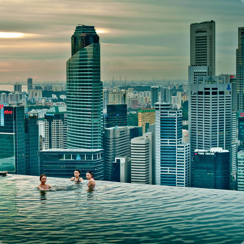 Amazing world marina bay sands hotel the highest - Tallest swimming pool in the world ...