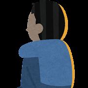 体育座りをする人の後ろ姿のイラスト(男性)