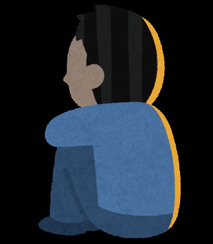 体育座りをする人の後ろ姿のイラスト(男性) | かわいいフリー素材集 ...