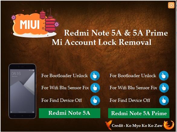Crack Zone Gsm: REDMI NOTE 5 /5A PRIME MI ACCOUNT LOCK REMOVER TOOL