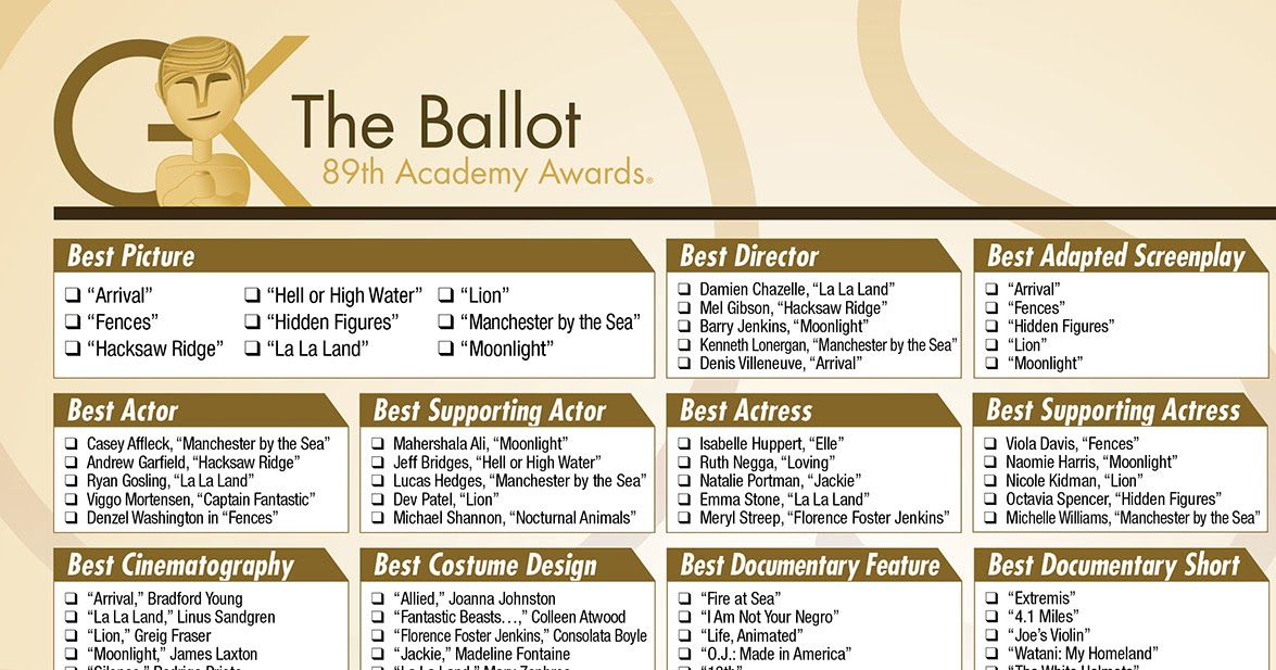 Actors Oscar Nominations Disabilities Afflictions 1201879957 further 2014 Winners Great Taste Awards likewise Download Our Printable Oscars Ballot as well Bet Awards 2010 20185 as well 2017 Oscar Nominations Announced Full List Download. on oscar nominations 2017 the predictions for this years