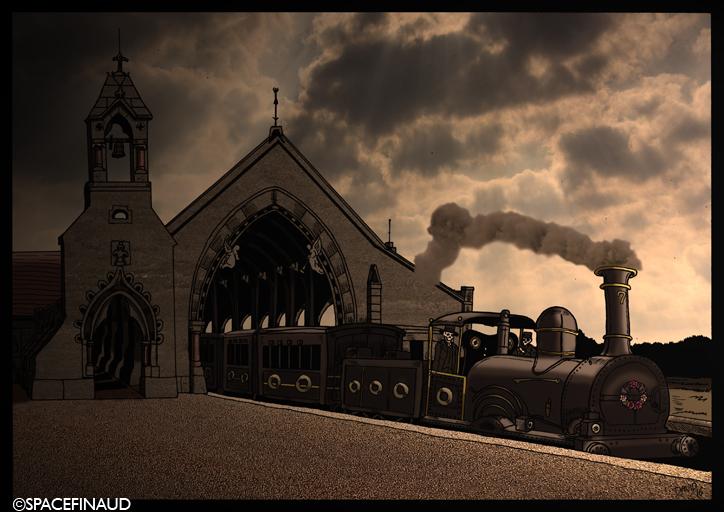 """Je me suis inspiré d'une gare très étrange à Sydney, en Australie. Cette gare, on l'appelle """"La Gare Mortuaire"""" parce qu'il y avait seulement un arrêt : le cimetière de Rookwood Nécropole ! En effet, la gare funéraire a ouvert ses portes à la fin des années 1860, offrant à la fois amis et la famille des billets à leurs disparus qui leur permettraient de se joindre à la personne décédée leur dernier voyage. Le cercueil est monté gratuitement. Souvent, plus de 30 morts seraient placés dans des wagons en bois et soigneusement rangés à l'intérieur du train, chacun d'entre eux dirigés vers un poste identique situé au cœur de Rookwood Nécropole. Là, ils seraient déchargés et transportés vers leurs lieux d'inhumation, où la famille se réunissaient pour un enterrement."""