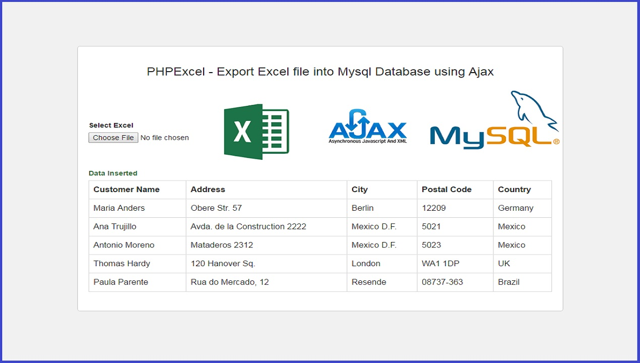 PHPExcel - Export Excel file into Mysql Database using Ajax