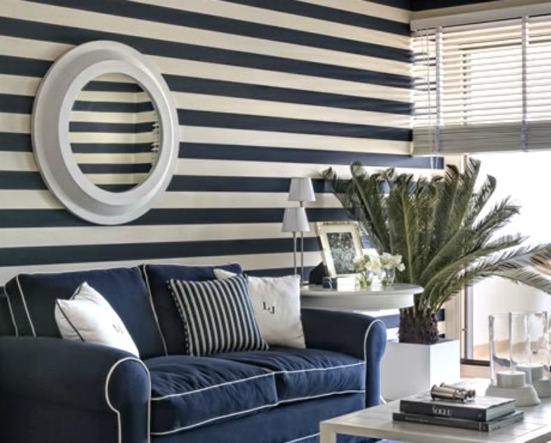 navy and white coastal room