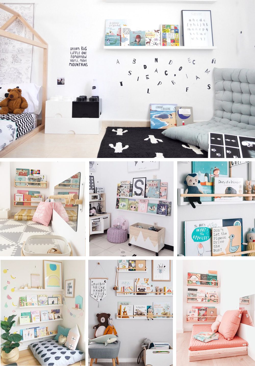 zona de lectura método Montessori para decorar habitaciones infantiles con estanterías, libros y colchonetas