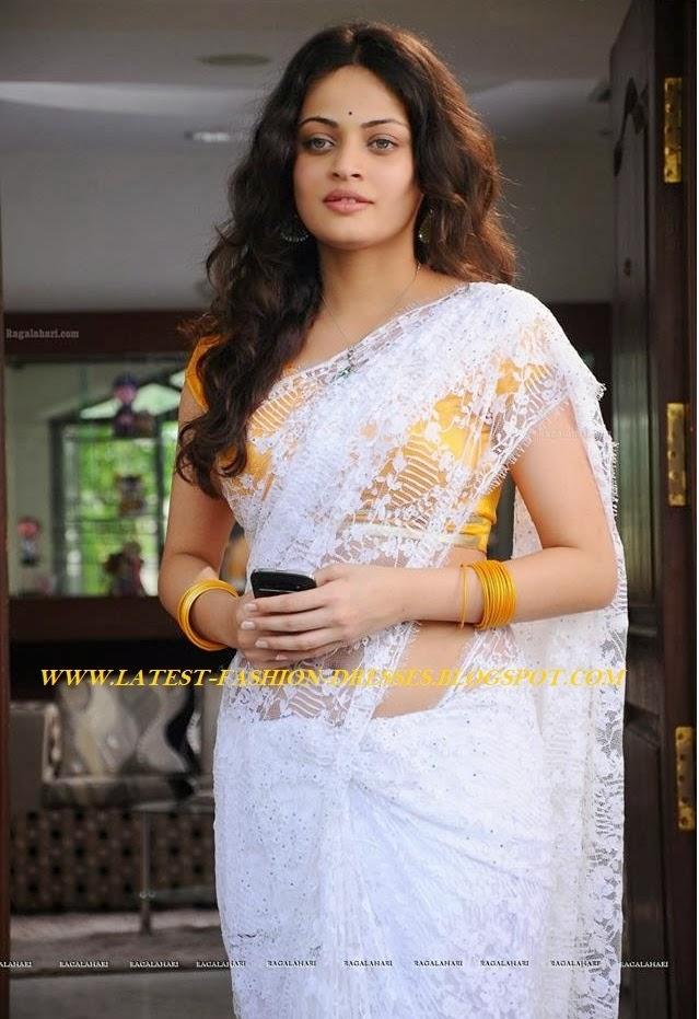 ACTRESS SNEHAULLAL IN WHITE LACE SAREE WITH YELLOW BLOUSE