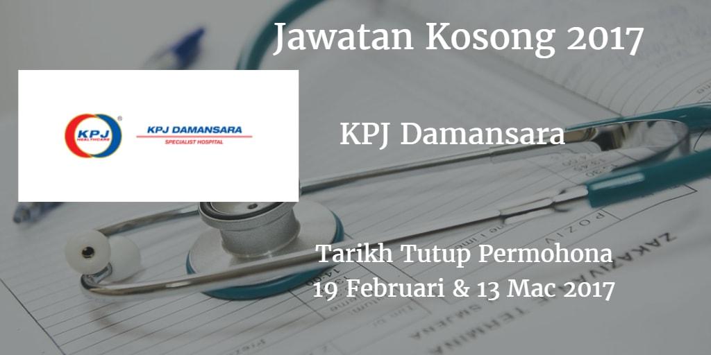 Jawatan Kosong KPJ Damansara 19 Februari & 13 Mac 2017