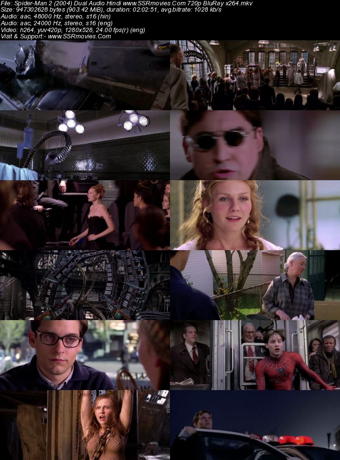 Spider-Man 2 (2004) Dual Audio Hindi 480p BluRay x264 400MB Movie Download