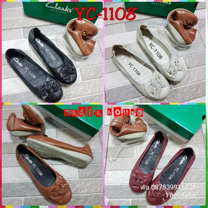 Sepatu Clarks flat kode YC-1108 bahan kulit asli 6dd614909d