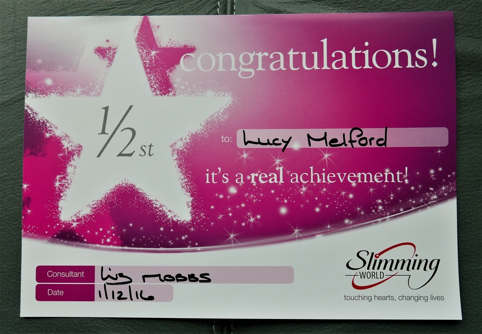 Lucy Melford Two Certificates Gained At Slimming World