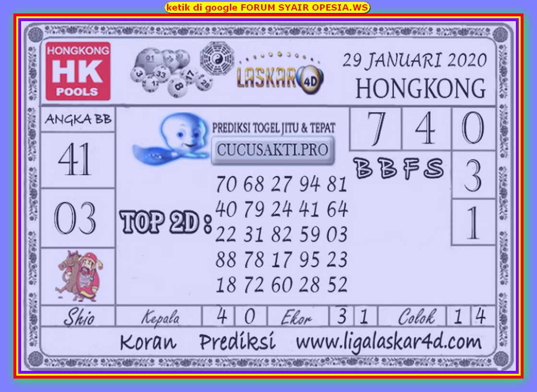 Kode syair Hongkong Rabu 29 Januari 2020 159