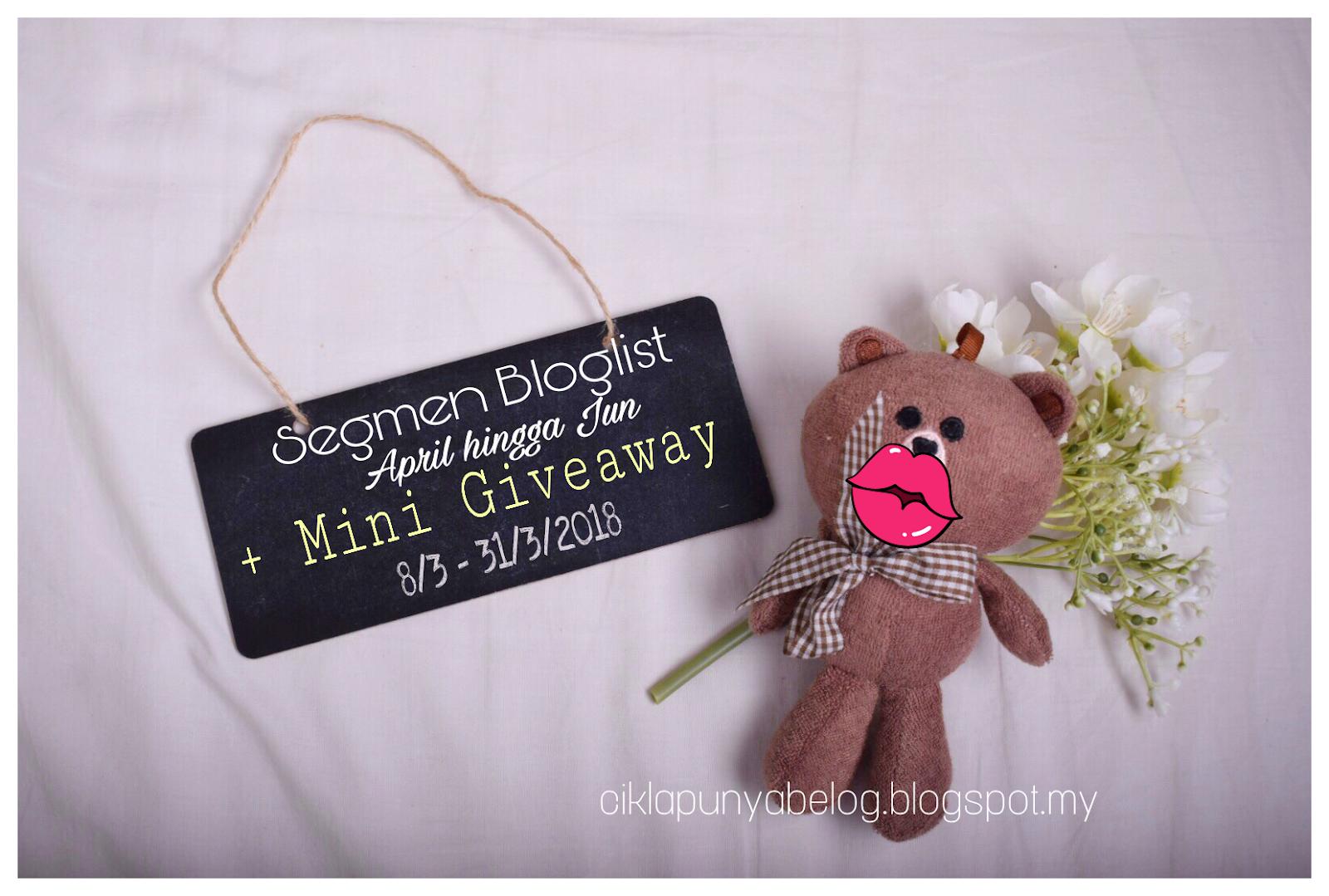 Segmen Bloglist April hingga Jun + Mini Giveaway.