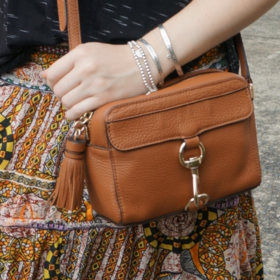 mixed print thrifted maxi skirt and Rebecca Minkoff MAB Camera Bag in almond | away from the blue