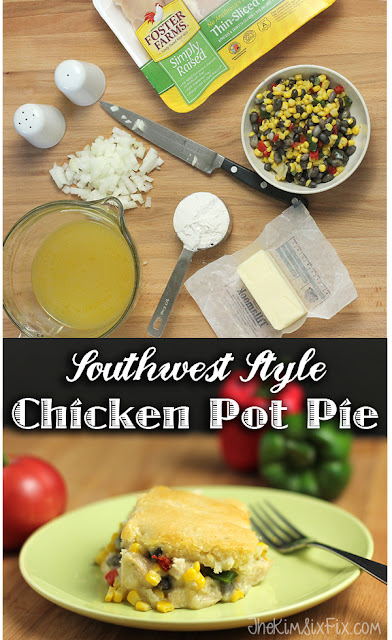 Easy Bisquick topped Tex-Mex chicken pot pie with the mexican flavors of black beans, peppers and corn. Easy to make.