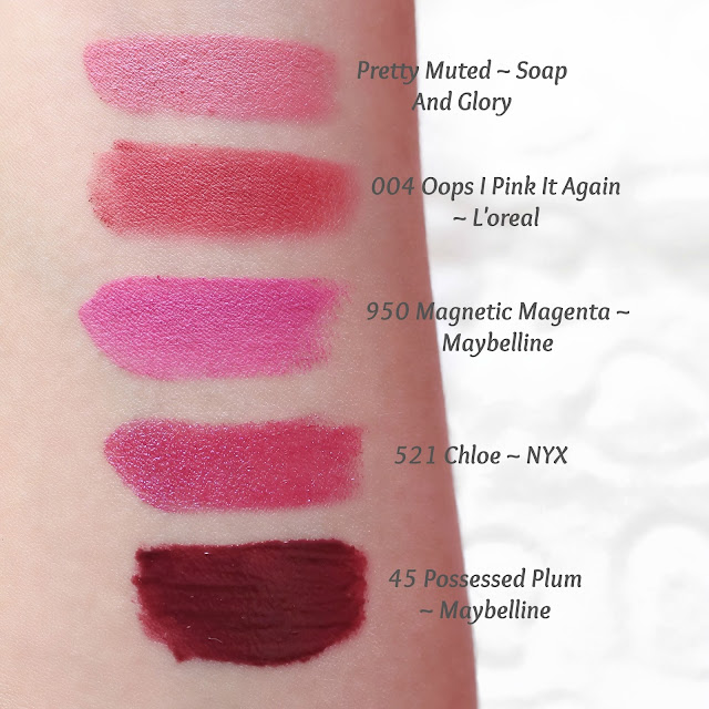 pink spring lipsticks swatches