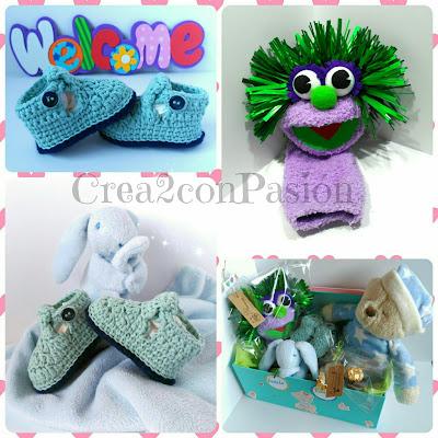 Crea2conPasión-botas-bebé-crochet-y-marioneta-calcetín-para-canastilla