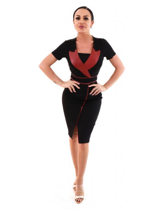 Rochie office chic stil bodycon in doua culori rosu-negru