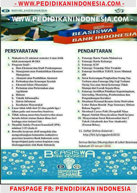 Beasiswa Bank Indonesia 2016