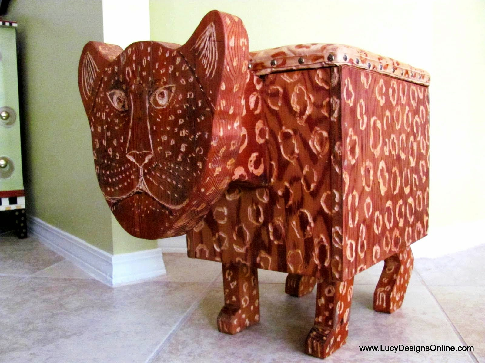 whimsical carved cheetah, leopard bench seat