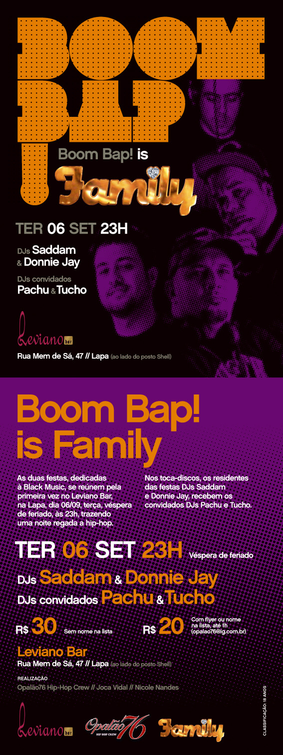 BOOM BAP IS FAMILY | DJs Saddam, Donnie Jay e Pachu | TER 06-09 @ Leviano/Lapa/RJ