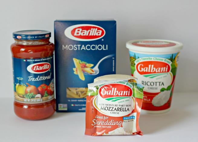 Barilla traditional pasta sauce, barilla mostaccioli pasta, galbani mozzarella, galbani ricotta