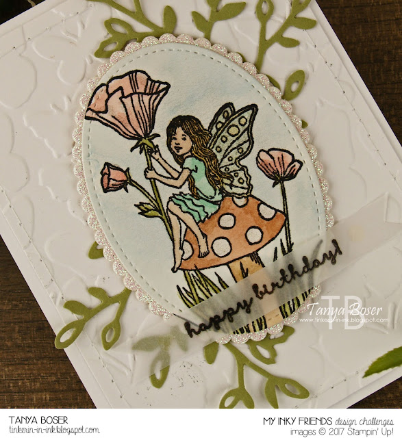 Fairy Celebration from Stampin' Up! has several images that are delightful to watercolor! ~Tanya Boser for My Inky Friends Challenge #4