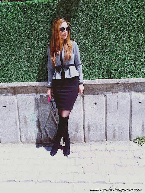 siyah kalem elbise kombinleri