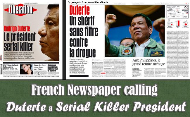 French Newspaper calling Duterte a Serial Killer President