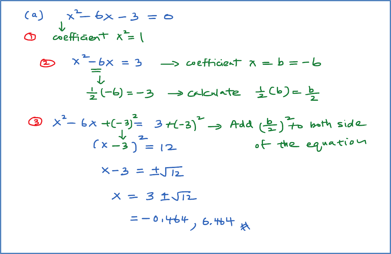 Solving Quadratic Equation Using Completing The Square