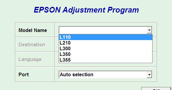 Download Epson L110, L210, L300, L350, L355 Resetter Tool