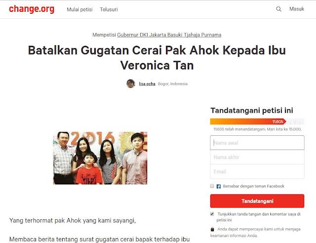 """Pembuat Petisi Ahok-Veronica Tan Jangan Cerai: """"Bingung Menyalurkan Aspirasi"""""""