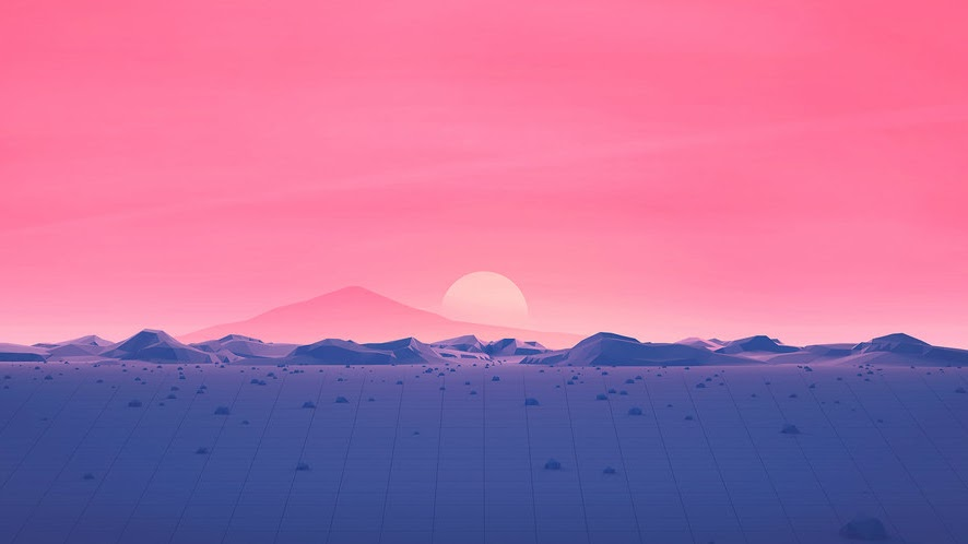 Sunset, Mountains, Landscape, Digital Art, Abstract, Minimalist, Low Poly, 4K, #53