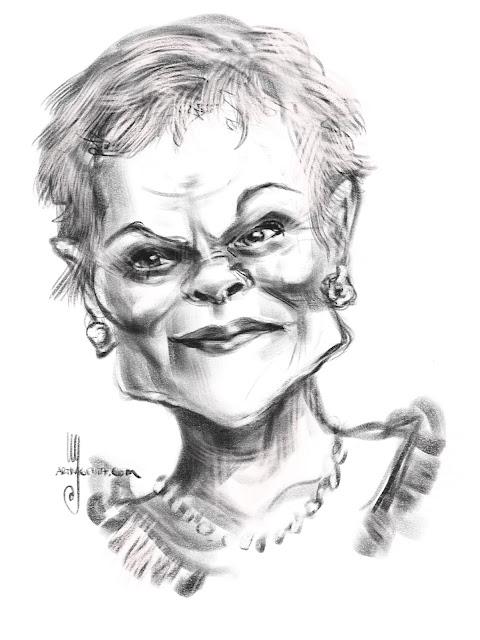 Judi Dench caricature by Artmagenta